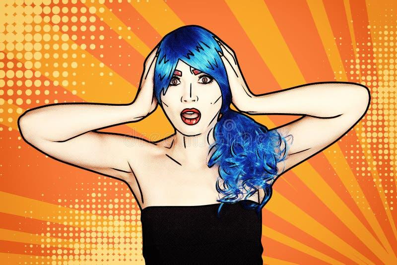 Retrato de la mujer joven en estilo cómico del maquillaje del arte pop Shoked femenino en peluca azul en fondo amarillo-naranja d libre illustration