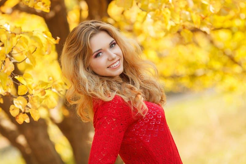 Retrato de la mujer joven hermosa en parque del otoño imágenes de archivo libres de regalías