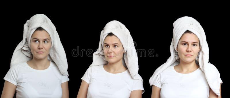 Retrato de la mujer joven natural con una toalla en su cabeza Fije de tres fotos aisladas en negro Tema del baño del welness del  imagen de archivo libre de regalías