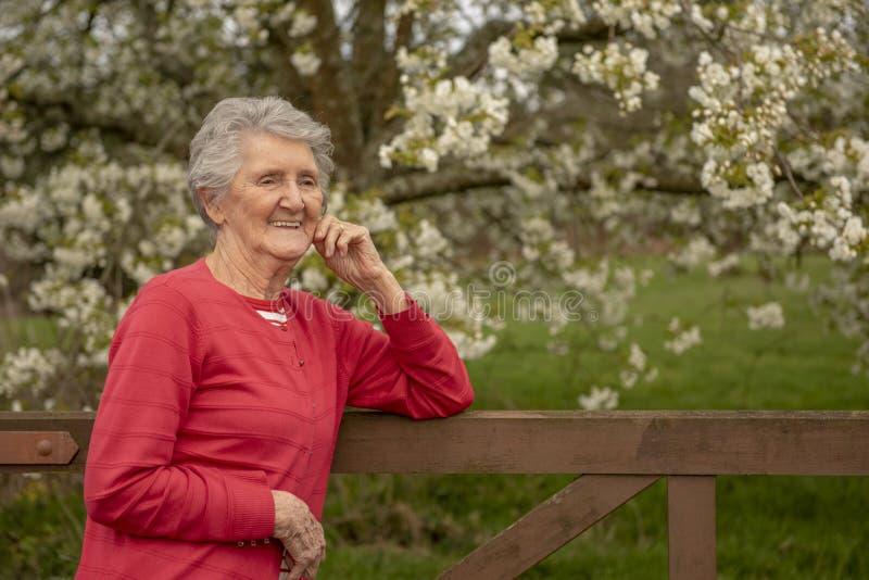Retrato de la mujer mayor al aire libre fotografía de archivo