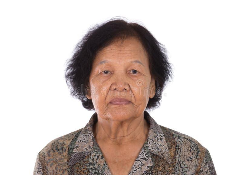 Retrato de la mujer mayor asiática imágenes de archivo libres de regalías
