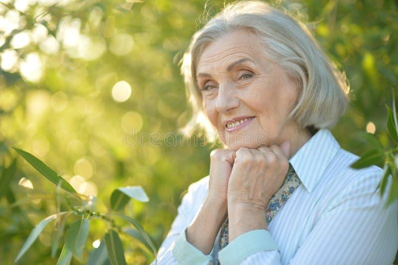 Retrato de la mujer mayor hermosa feliz que presenta al aire libre fotografía de archivo libre de regalías