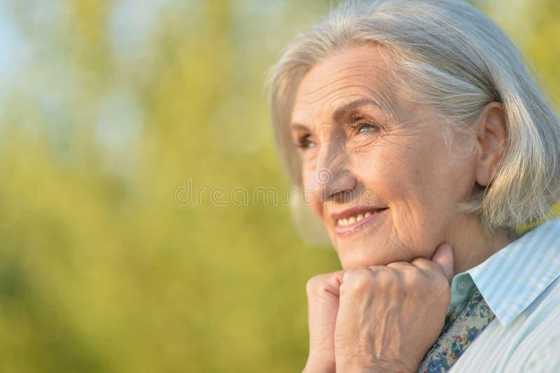 Retrato de la mujer mayor hermosa feliz que presenta al aire libre fotos de archivo libres de regalías