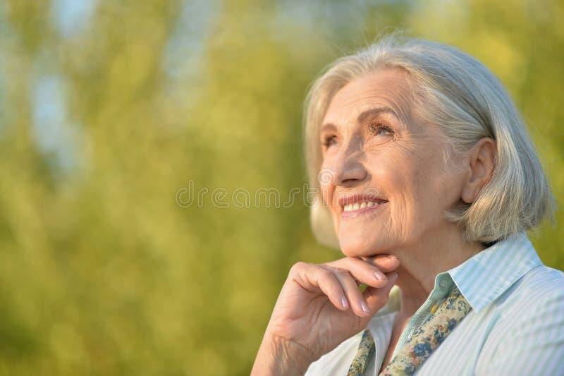 Retrato de la mujer mayor hermosa que presenta al aire libre foto de archivo