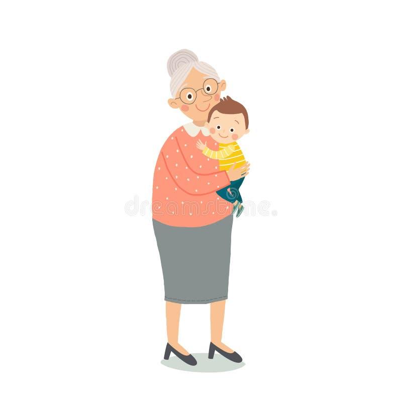 Retrato de la mujer mayor linda con un bebé Vidrios que llevan de la abuela Señora mayor con el nieto grandma historieta libre illustration