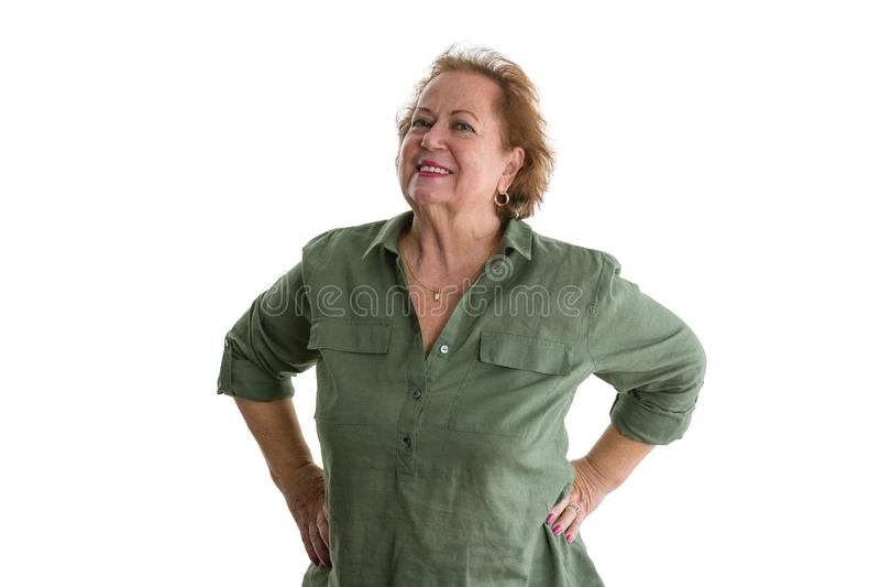Retrato de la mujer mayor segura de sí mismo sonriente fotos de archivo