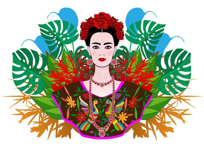 Retrato de la mujer mexicana hermosa joven con un peinado tradicional Joyas mexicanas, corona de flores y flores rojas ilustración del vector