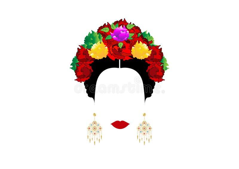 Retrato de la mujer mexicana o española moderna, con las coronas de la flor y los pendientes de oro preciosos Vector aislado stock de ilustración