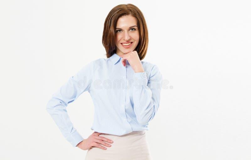 Retrato de la mujer de negocios confiada hermosa en el fondo blanco fotografía de archivo libre de regalías