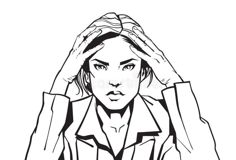 Retrato de la mujer de negocios enojada que se sostiene principal con la empresaria Tired Or Upset del bosquejo de Headacke stock de ilustración