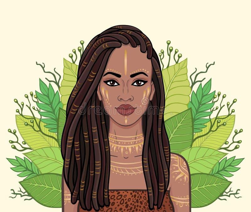 Retrato de la mujer negra hermosa, guirnalda de la animación de hojas tropicales stock de ilustración