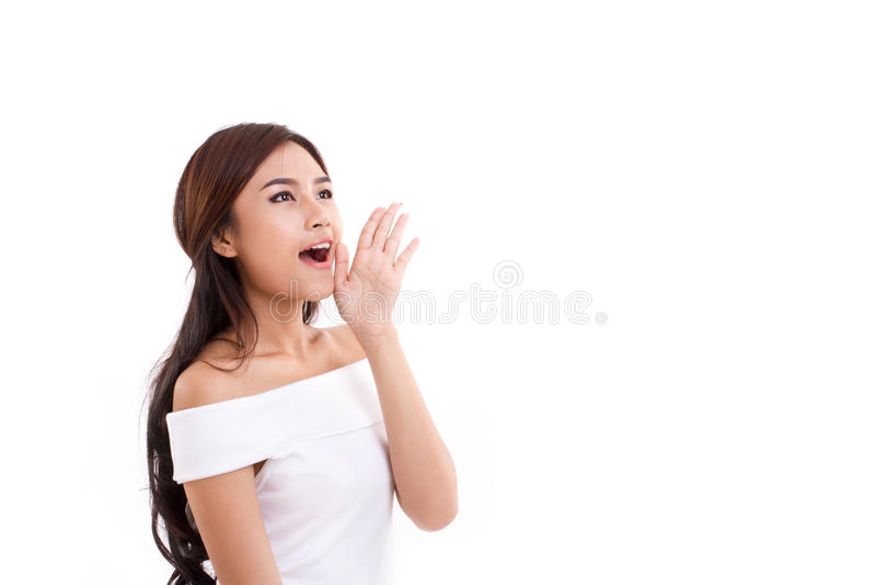 Retrato de la mujer que habla, gritando, comunicando fotos de archivo libres de regalías