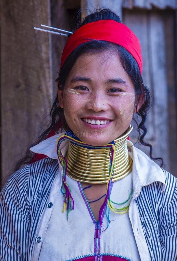 Retrato de la mujer de la tribu de Kayan en Myanmar fotografía de archivo