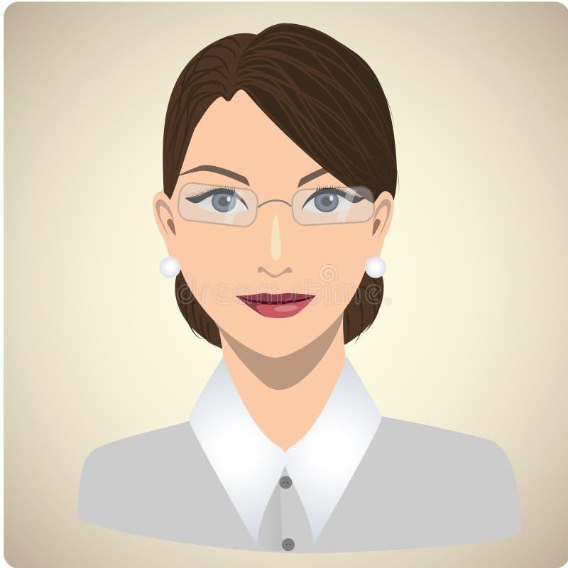 Retrato de la mujer vestido como un profesor stock de ilustración