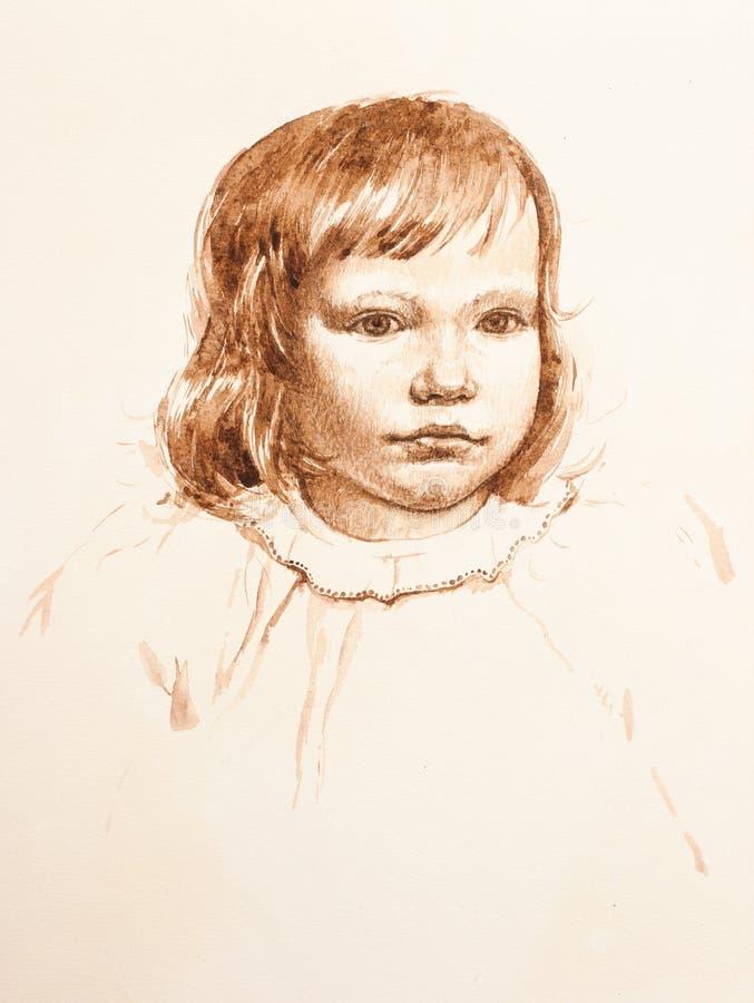 Retrato de la niña. acuarela foto de archivo libre de regalías