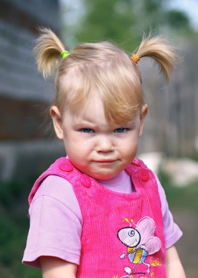 Retrato de la niña gritadora fotografía de archivo libre de regalías