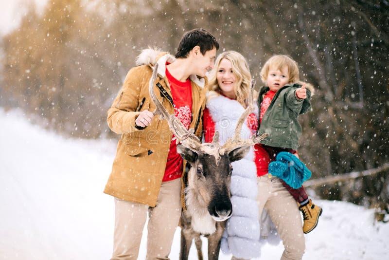 Retrato de la nieve del invierno de la familia que sopla feliz con un ciervo hermoso foto de archivo