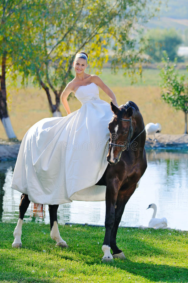 Retrato de la novia hermosa con el caballo imágenes de archivo libres de regalías