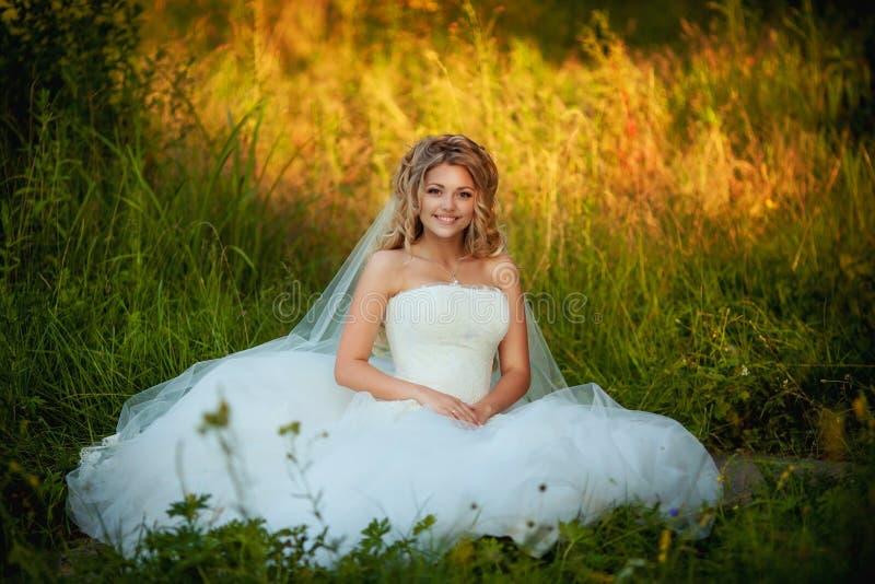 Retrato de la novia hermosa que se sienta en el campo fotos de archivo libres de regalías