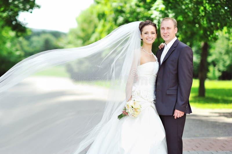 Retrato de la novia y del novio felices en un parque foto de archivo libre de regalías