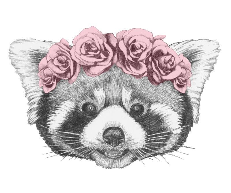 Retrato de la panda roja con la guirnalda principal floral Cara a mano de las mujeres de illustration ilustración del vector