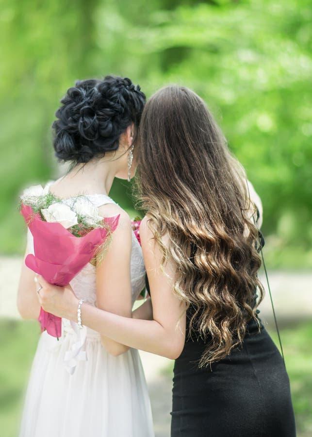 Retrato de la parte posterior de dos mujeres hermosas jovenes que se abrazan en parque verde del verano Hembras bonitas novia y e fotos de archivo