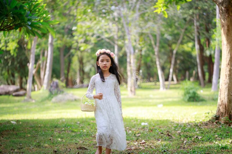 Retrato de la pequeña muchacha asiática que camina en el bosque de la naturaleza con tono suave procesado fotografía de archivo libre de regalías