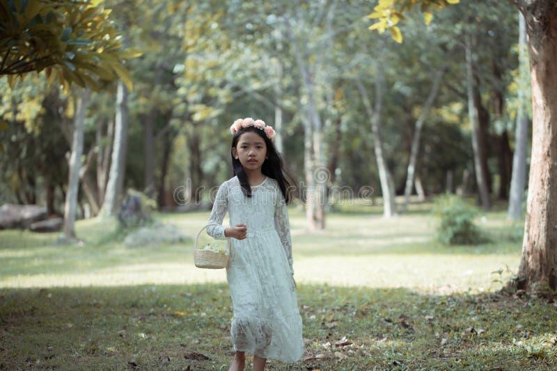 Retrato de la pequeña muchacha asiática que camina en el bosque de la naturaleza con tono de la suavidad y del vintage procesado imagen de archivo