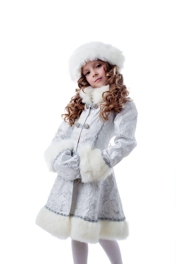 Retrato de la pequeña reina orgullosa de la nieve fotos de archivo