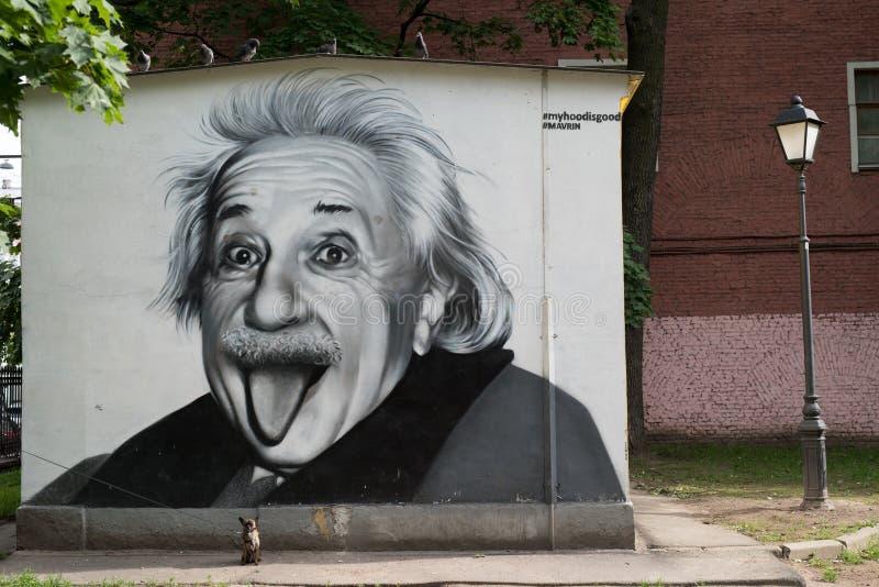 Retrato de la pintada de Albert Einstein fotos de archivo