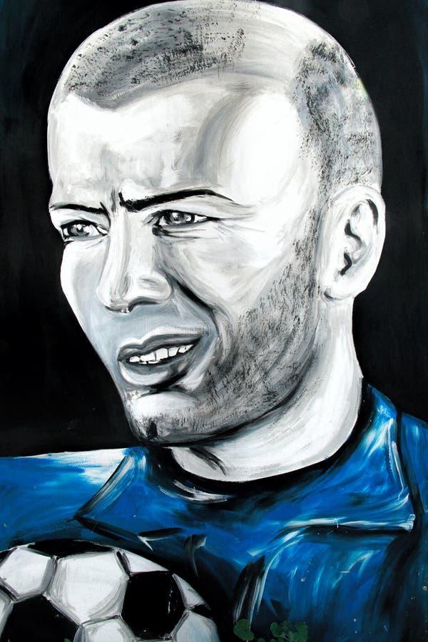 Retrato de la pintada de Zinedine Zidane imagen de archivo