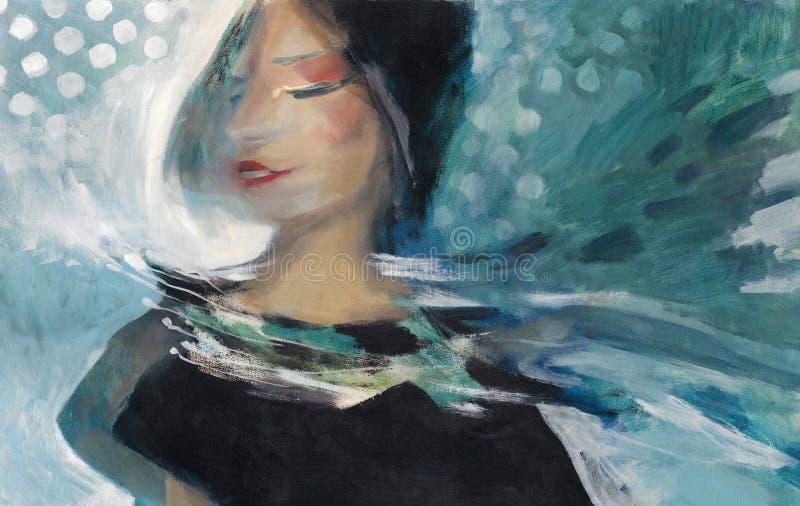 Retrato de la pintura al óleo ilustración del vector