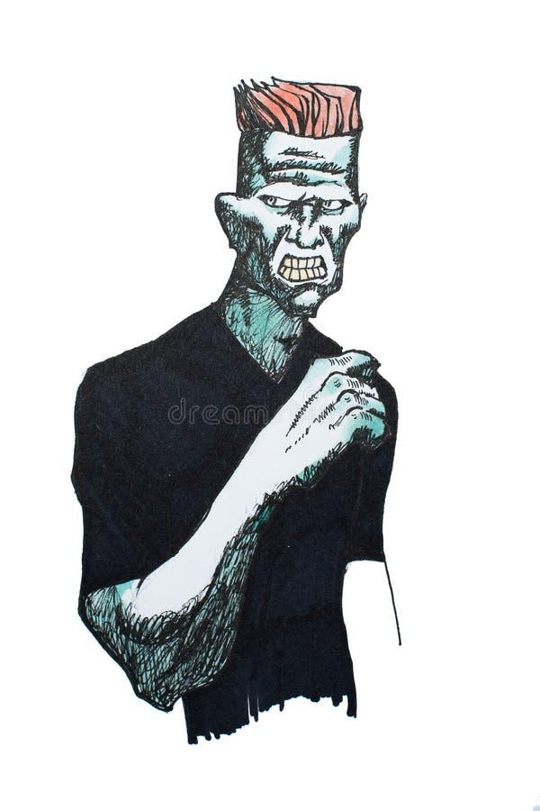 retrato de la Pluma-y-tinta del hombre brutal que parece agresivo y de amenazar dibujado en el Libro Blanco libre illustration