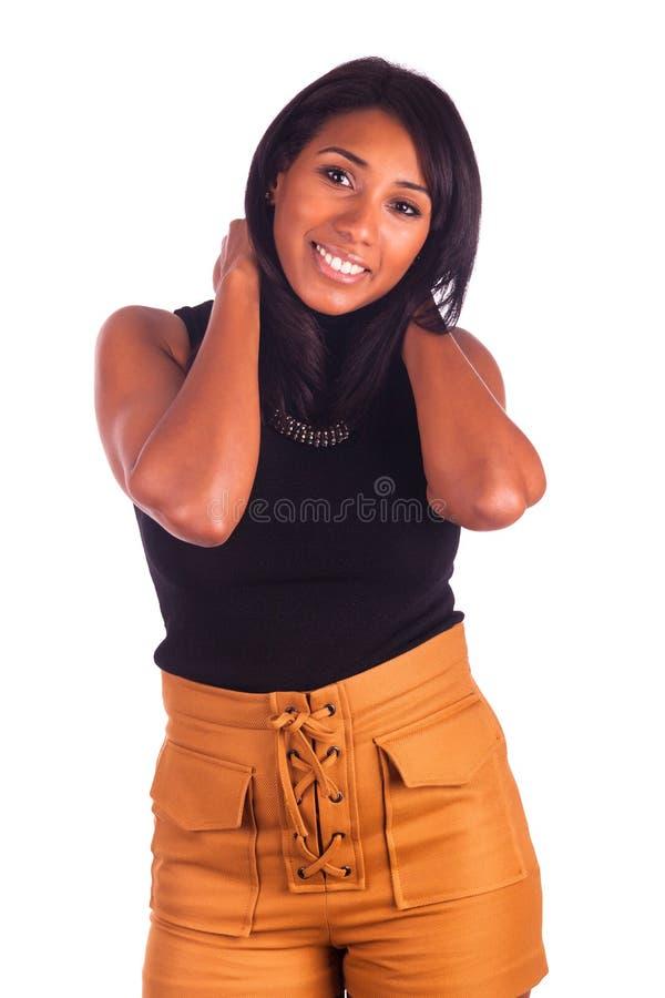 Retrato de la sonrisa africana joven de la mujer imágenes de archivo libres de regalías
