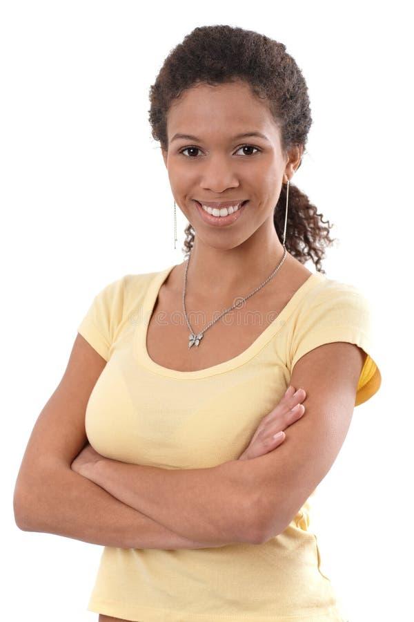 Retrato de la sonrisa femenina bastante étnica imagen de archivo libre de regalías