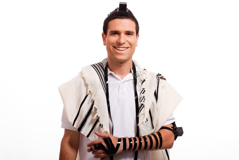 Retrato de la sonrisa judía feliz del hombre imagen de archivo libre de regalías