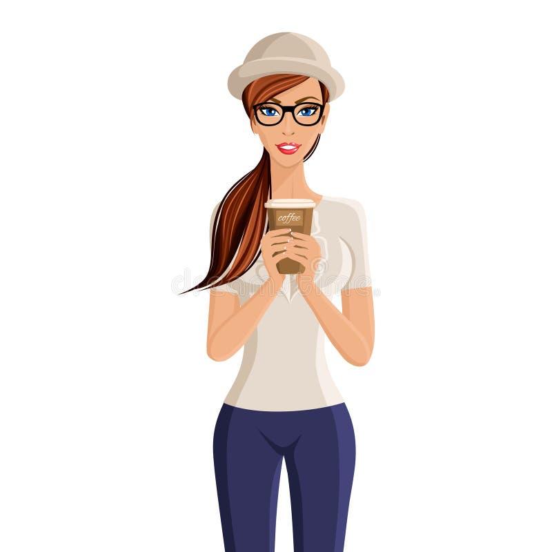 Retrato de la taza de café de la mujer ilustración del vector