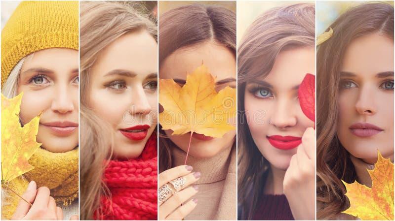 Retrato de las mujeres del otoño Muchas caras femeninas y caer hojas al aire libre foto de archivo