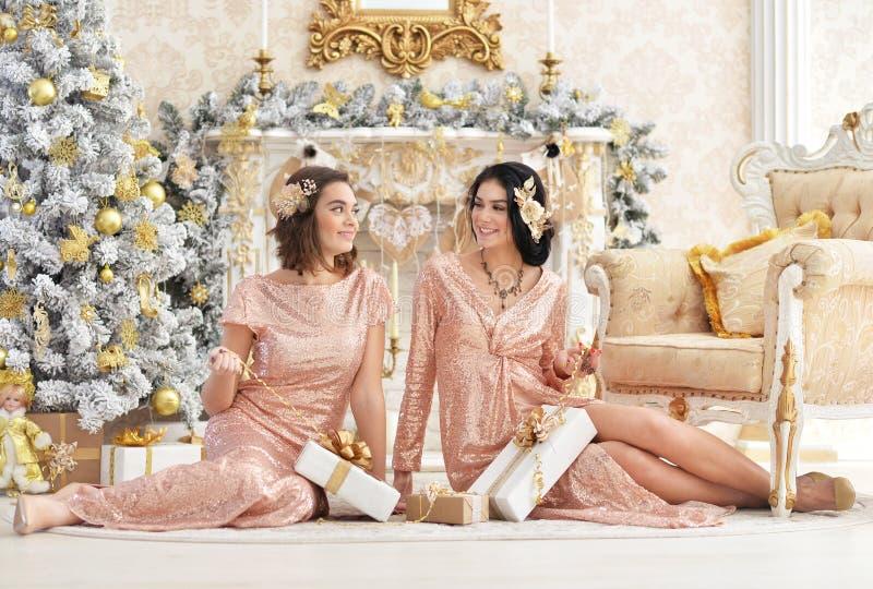Retrato de las mujeres jovenes hermosas que se sientan en piso imágenes de archivo libres de regalías