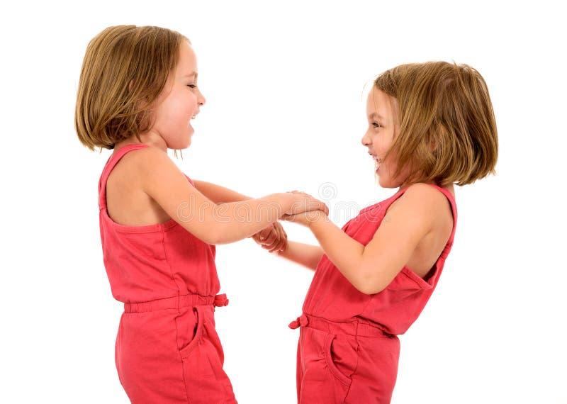 Retrato de las pequeñas muchachas gemelas que celebran y que llevan a cabo las manos imágenes de archivo libres de regalías