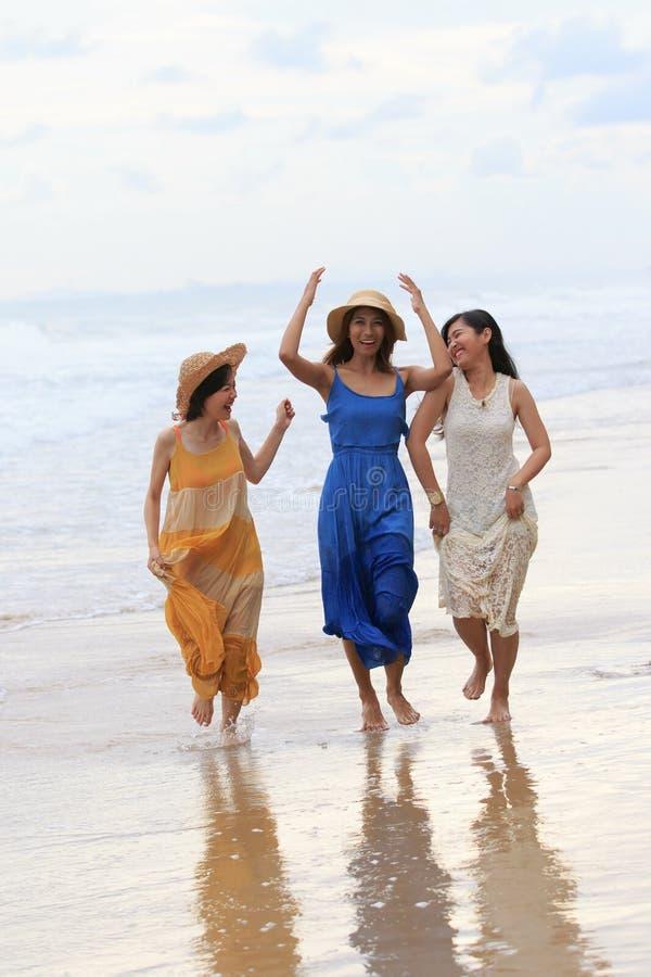 Retrato de las vacaciones asiáticas jovenes de las vacaciones de verano de la mujer en bea del mar imagenes de archivo
