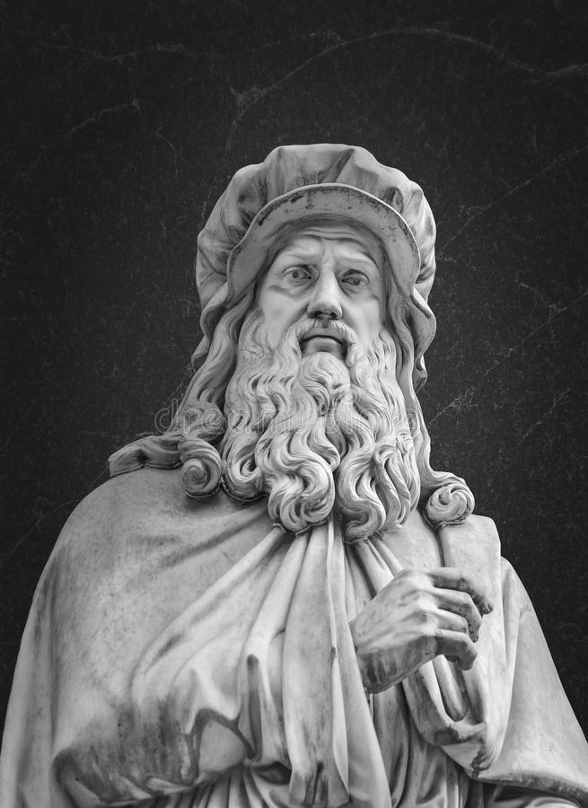 Retrato de Leonardo da Vinci Sculpture fotos de archivo