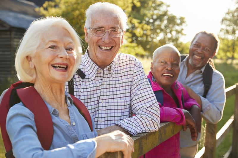 Retrato de los amigos mayores que caminan en campo imagen de archivo