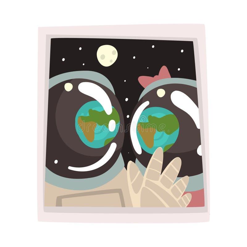 Retrato de los astronautas de los pares en el amor, ejemplo romántico del vector de los viajeros del espacio ilustración del vector