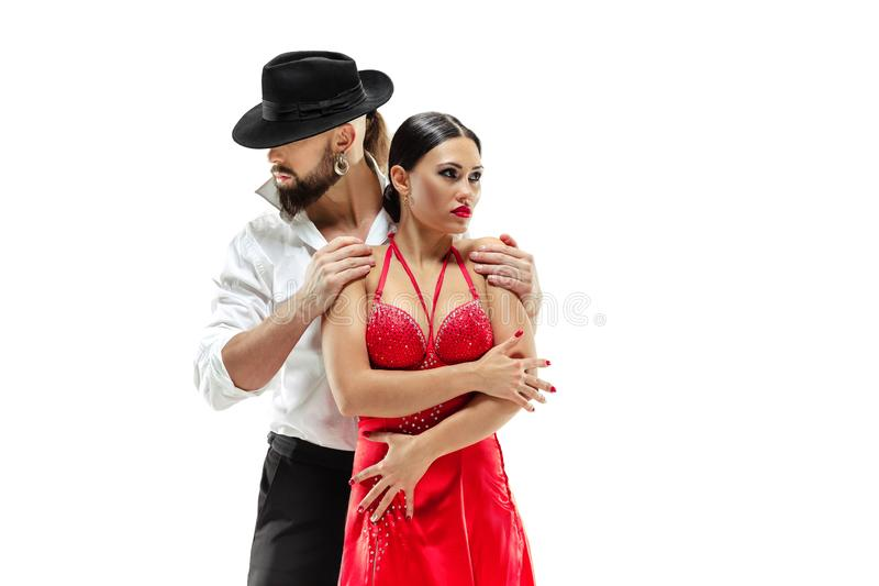 Retrato de los bailarines jovenes del tango de la elegancia Aislado sobre el fondo blanco fotos de archivo