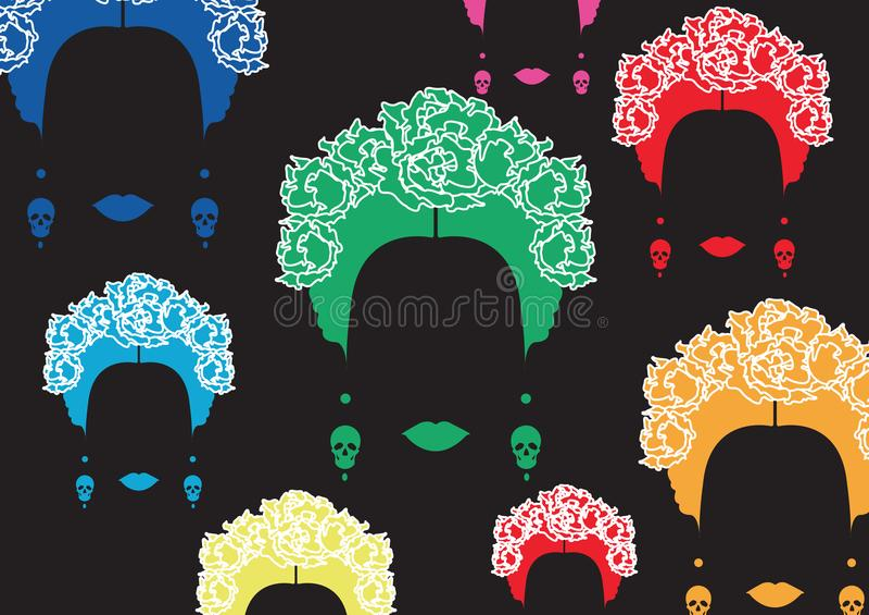 Retrato de los multicolors del fondo de la mujer mexicana o española, peinado tradicional minimalista con los cráneos de los pend libre illustration