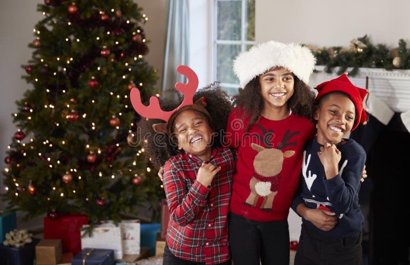 Retrato de los niños que llevan puentes festivos y de los sombreros que celebran la Navidad en casa junto foto de archivo libre de regalías