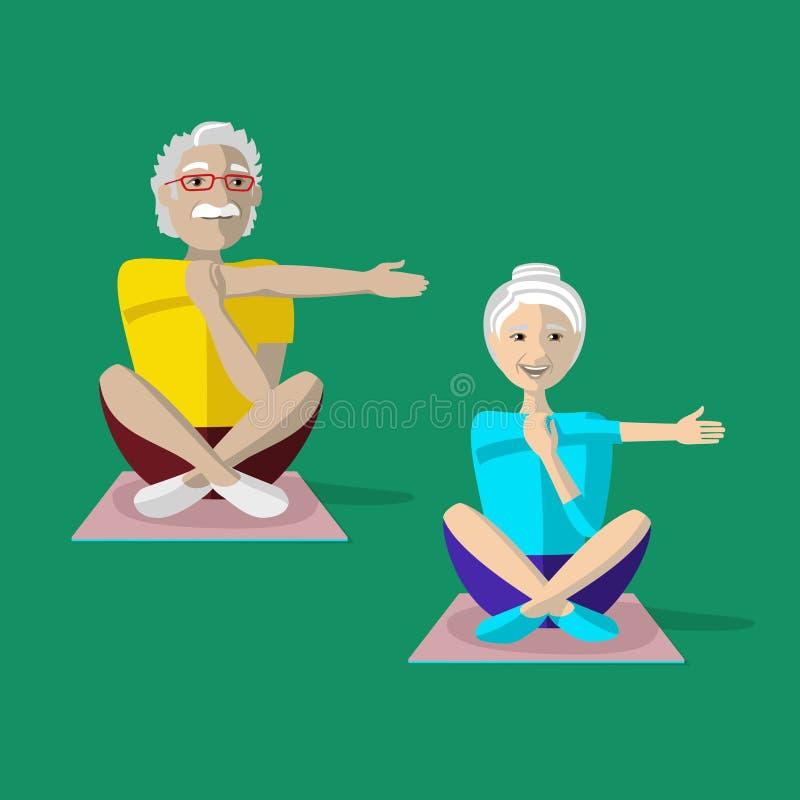 Retrato de los pares envejecidos que hacen ejercicio de la yoga Actividad mayor ilustración del vector