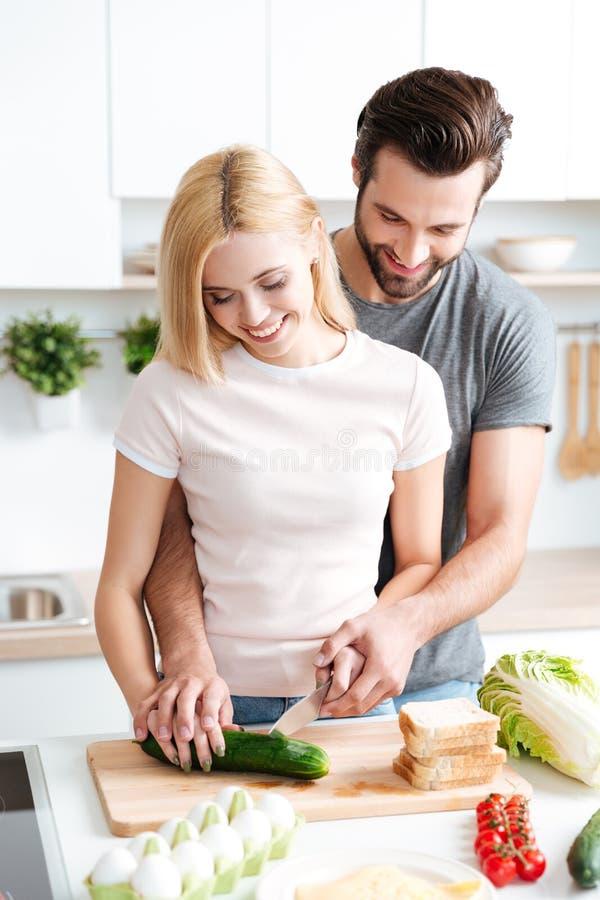 Retrato de los pares jovenes felices que cocinan junto en la cocina foto de archivo