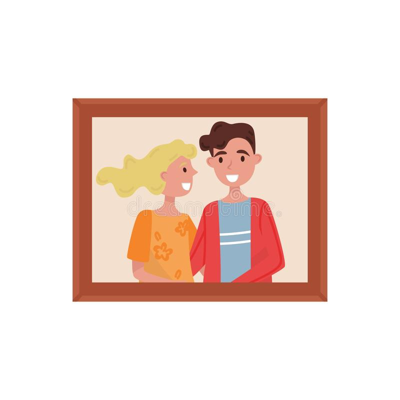 Retrato de los pares de la familia, foto de familia en el ejemplo del vector del marco de madera en un fondo blanco stock de ilustración